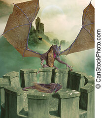 Dragon Land - A huge dragon guarding a little dragon. The...
