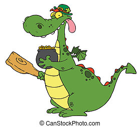 Dragon Leprechaun with a pot of gol