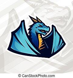 Dragon logo concept. Football or baseball mascot design. College league insignia, School team vector.