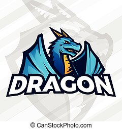 Dragon logo concept. Sport mascot design. Asian beast sign, School team vector.