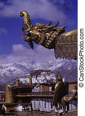 Dragon - Looking at Potala Palace from Jokhang Monastery