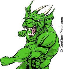 Dragon mascot fighting - A tough looking green dragon...