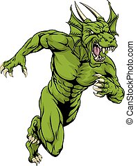 Dragon mascot sprinting - An illustration of a mean tough...
