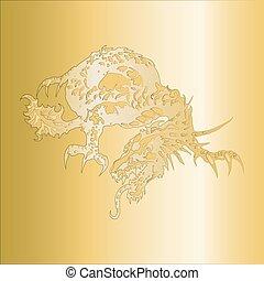 dragon, modèle, gaufré, sur, a, or, p