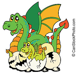 Dragon mom with baby and eggs