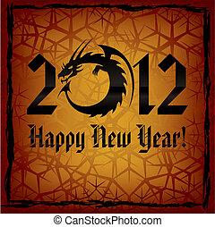 dragon., noir, année, nouveau, carte, 2012