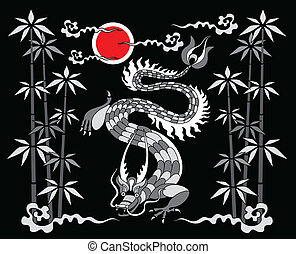dragon on a black background