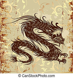 dragon on paper grunge