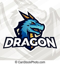 Dragon on shield sport mascot concept. Football or baseball patch design. College league insignia.