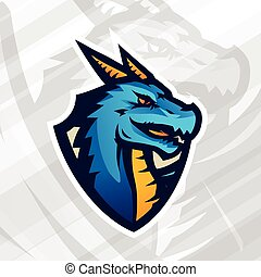 Dragon on shield sport mascot template. Football or baseball patch design. College league insignia, School team vector