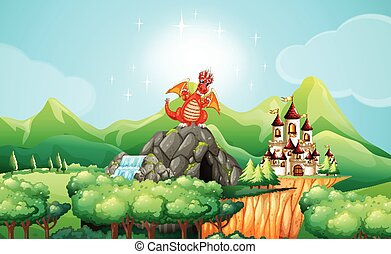 Dragon on the cave by the castle