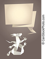 Dragon origami, paper speech bubble