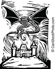 Dragon over Castle - Woodcut Dragon shoots fire to burn down...