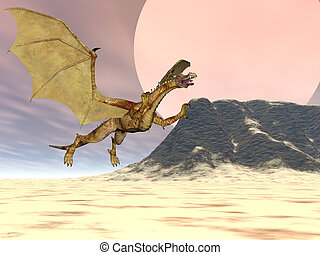 Dragon Plateau - Flying dragon near a plateau