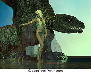 Dragon protects Fairy - A fierce dragon with huge teeth and...