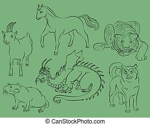 dragon, rat, goat, tiger, horse and dog