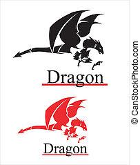 dragon., repülés, sárkány