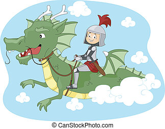 Dragon Ride - Illustration of a Kid Riding a Dragon