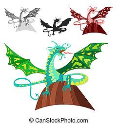 dragon, rocher