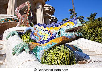 dragon, salamandra, de, gaudi, dans parc, guell
