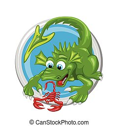 Scorpio. Zodiac sign. Horoscope. Green dragon is playing with red scorpion