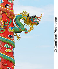 Dragon sculpture chinese style in the Chinese temple