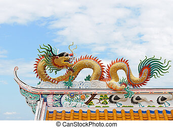 Dragon sculpture on a Chinese temple roof.