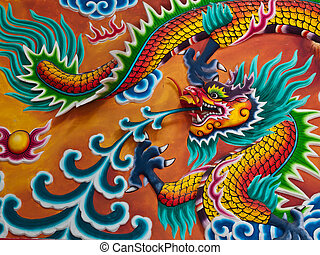 Dragon sculpture on wall of temple