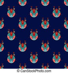 Dragon Seamless on Navy Blue Background. Vector Illustration