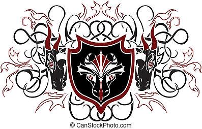 Dragon shield. vector illustration