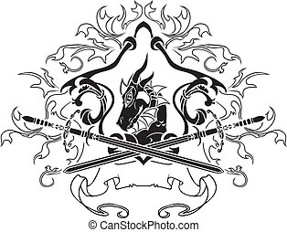 Dragon shield with swords stencil