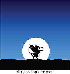dragon silhouette on the moon background