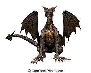 Dragon Sitting - Sitting dragon, 3d digitally rendered...