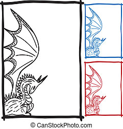 Dragon sketch frame picture - Frame with dragon sketch - ...