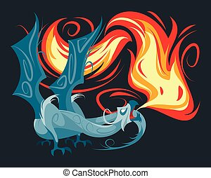 dragon, spewing, brûler