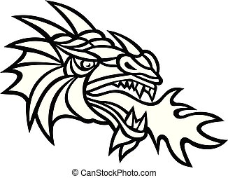 Dragon-spewing-fire-side-RETRO - Mascot icon illustration of...