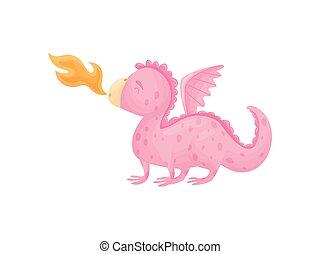 Dragon spews flames. Vector illustration on white...