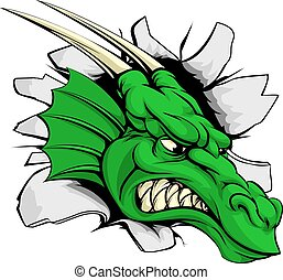 Dragon sports mascot breakthrough concept of a dragon sports...