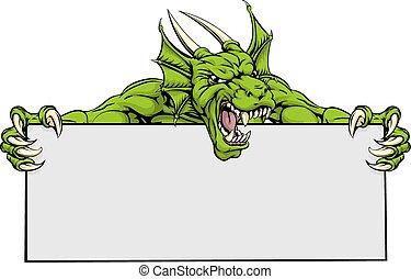 Dragon Sports Mascot Sign - A mean looking dragon mascot ...