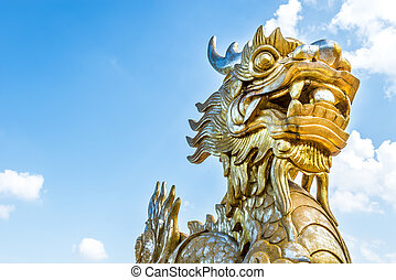 Dragon statue in Vietnam as symbol and myth.