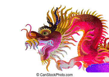 Dragon statue isolated on the black background
