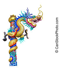 Dragon statue isolated on white