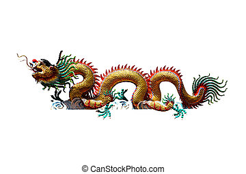 Dragon statue isolated with clipping path.