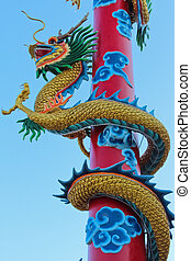 Dragon statue on pillar in Chinese Temple