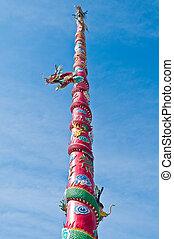 Dragon statue pole