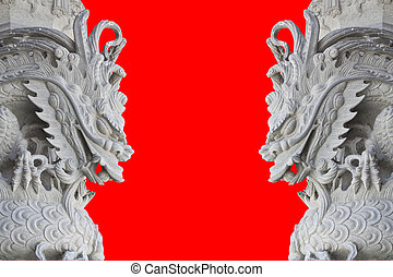 dragon stone carving - stone carving, the carving is a...