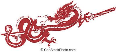 Dragon Sword - A dragon laying across a long sword