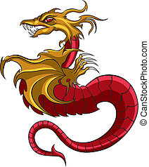Dragon symbol logo - Illustration symbolic red dragon with...