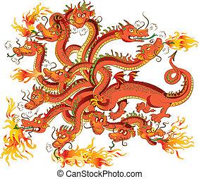 dragon, têtes, vecteur, douze