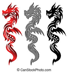 dragon, tatouage, tribal